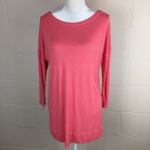 bordeaux pink inside out seam tunic ribbed medium